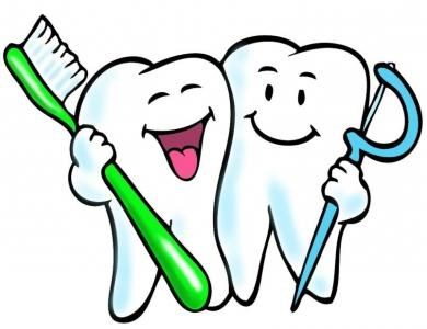 To tegneserietenner som holder en tannbørste og tannpirker/tanntråd