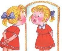 Tegning av jente som gjør logopedøvelser i speilet